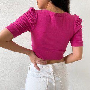 ASOS Tops - NWOT Pink Button Down Knit Crop Top